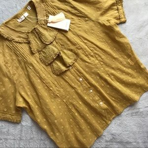 NWT Doen Poppy Ruffle Lace Top Wheat Cotton Large